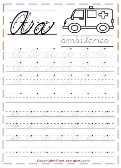 Printable cursive handwriting practice sheets letter a - Printable ...
