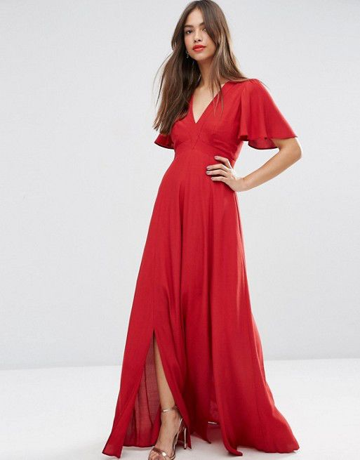 b72497b76 Vestido largo rojo con manga corta fluida de Asos.