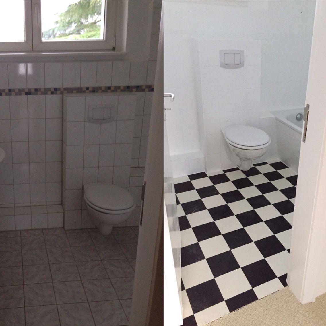 Łazienka przed i po. kafelki pomalowane farbą specjaną plus, Badezimmer ideen