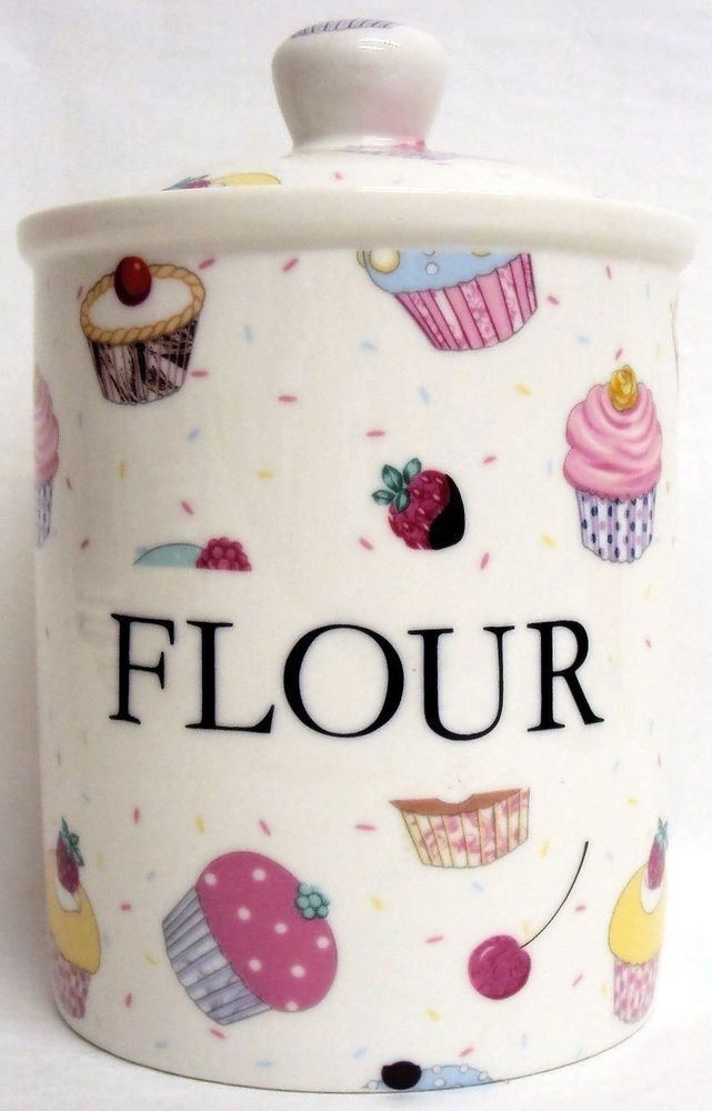 Fairy Cupcakes Flour Canister Bone China Storage Jar Hand Decorated Uk Fromeuropewithlove Contemporary