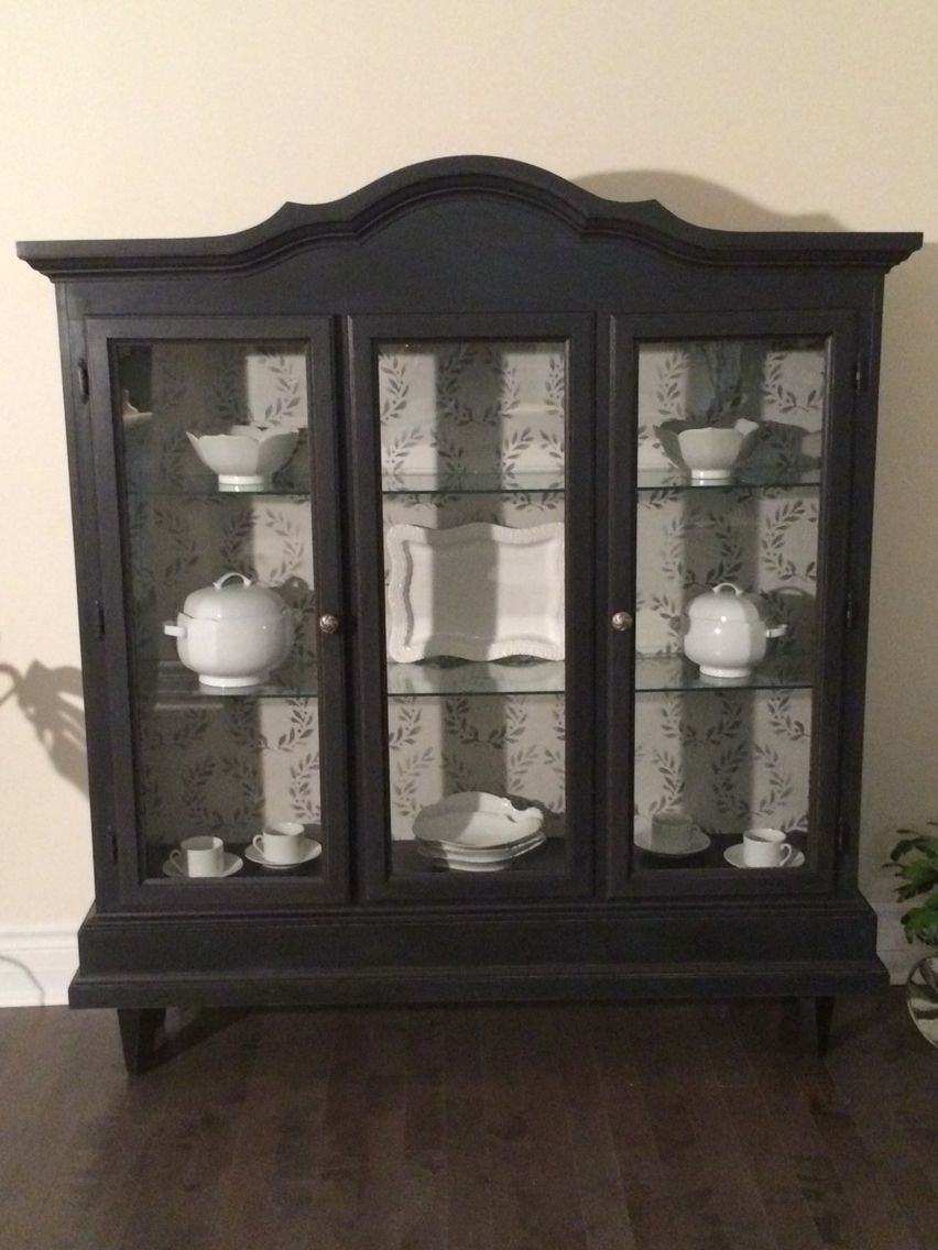 Refurbished Curio Cabinet Chalk Painted Soft Black And Lightly Distressed Classic Lines With Modern Tou Timeless Furniture Artistic Furniture Furniture Rehab