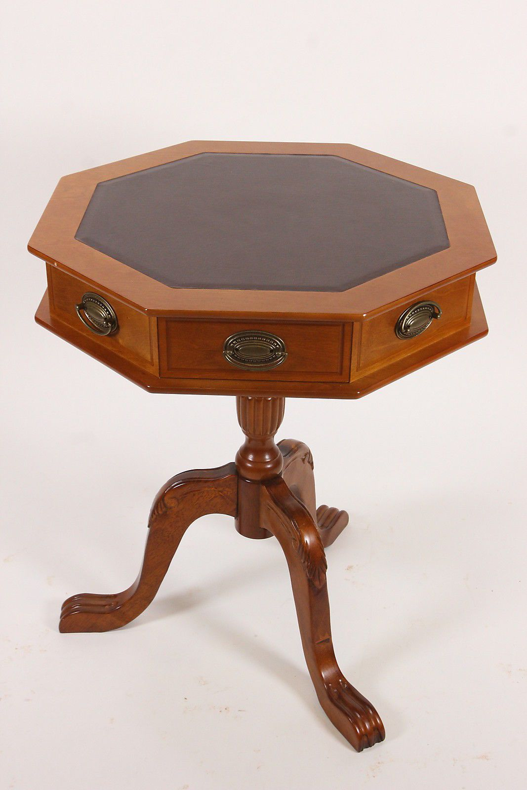 Thomas Pacconi Classics Octagon Table Leather Top 18th Century Reproduction