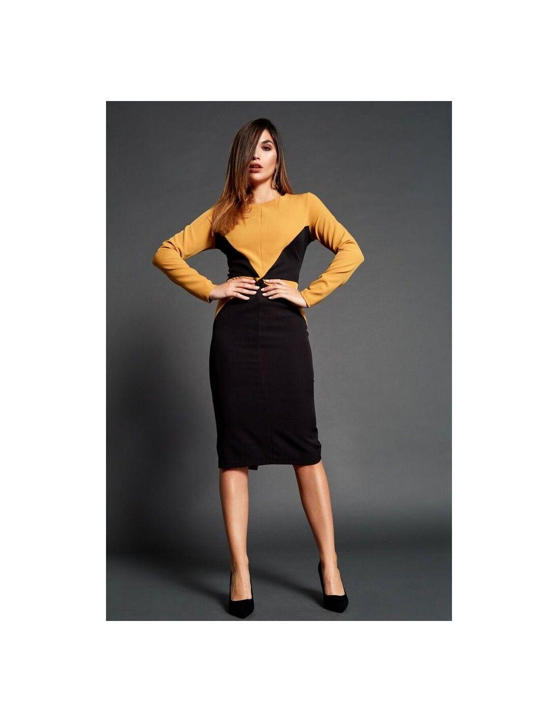 655051a3aca Vestido Emmen - Vestido de corte midi combinado en color mostaza y negro.  Cuello redondo