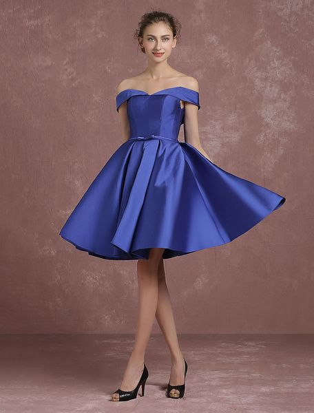 eb5c514443 Royal Blue Cocktail Dress Off The Shoulder Satin Prom Dress V Neck Pleated  A Line Knee Length Homecoming Dress