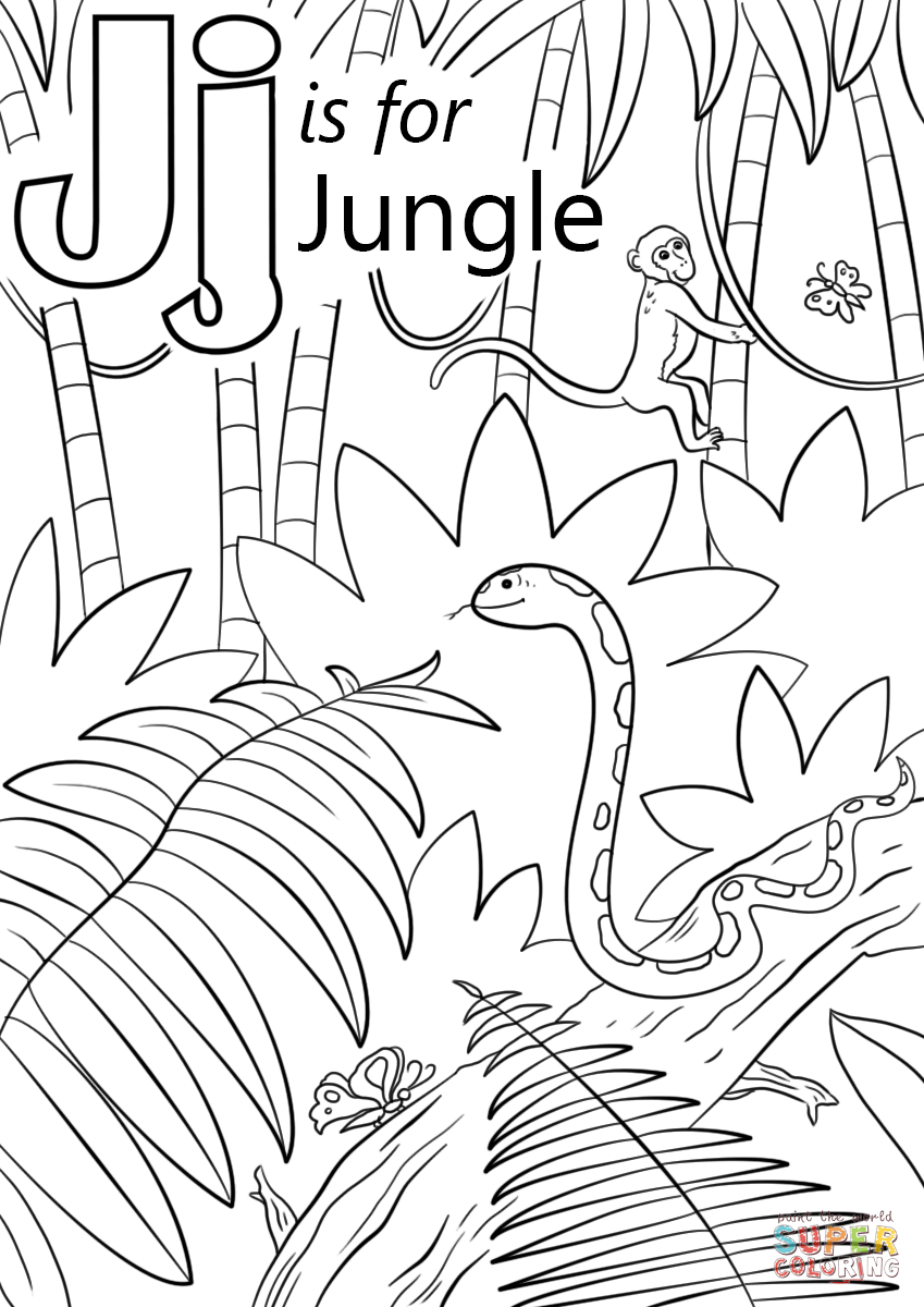 letter j is for jungle super coloring jungle coloring. Black Bedroom Furniture Sets. Home Design Ideas
