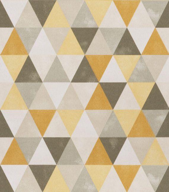 Dark Yellow Grey Geometric Upholstery Fabric Modern Grey