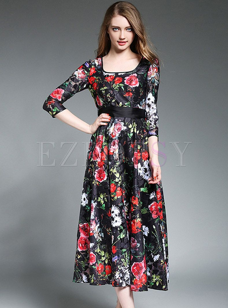 ab196643d18 Shop for high quality Lace Floral Print Square Neck Three Quarters Sleeve  Maxi Dress online at cheap prices and discover fashion at Ezpopsy.com