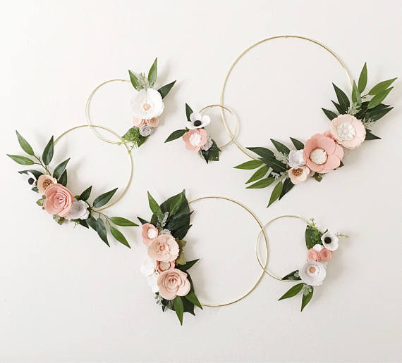 Boho Blush Wreath Set || Wreath Wall Gallery || Wall Arrangement || Felt Flowers || Floral Swag || Nursery Decor || Rifle Paper Co Inspired