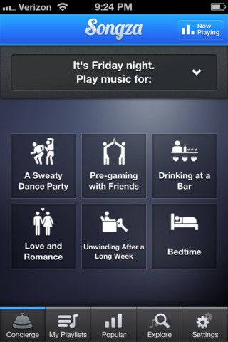Tried songza pretty cool collection of playlists based on time and mood