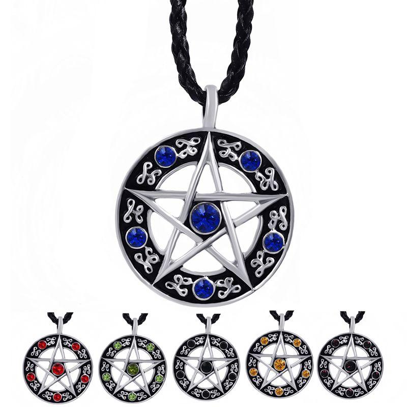 9de4ee80c Pánská Dámské Modrá / Red / Black / Green / Purple CZs Pentagram Pentagram  Pewter hvězda přívěšek s 24