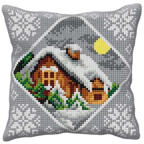 Orchidea Cottage in Winter Grey Pillow Needlepoint Kit