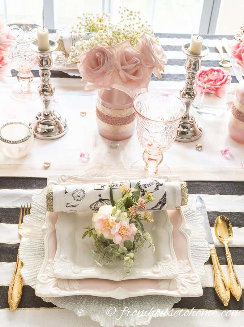 Romantic Blush Pink Tablescape That Will Make Your Guests Swoon Entertaining Diva From House To Home Pink Tablescape Pink Table Settings White Table Settings