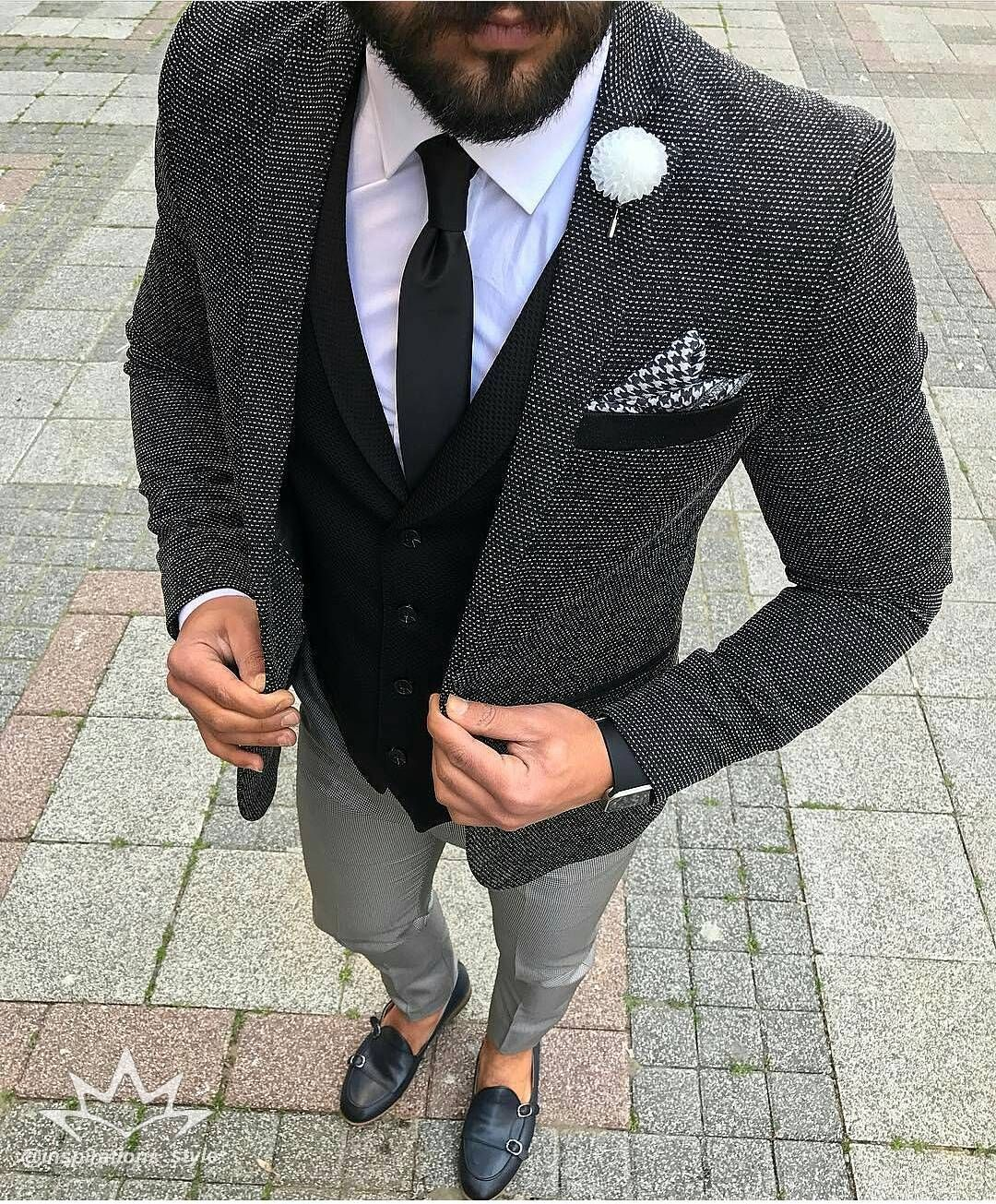 Men Fashion Suit With No Tie
