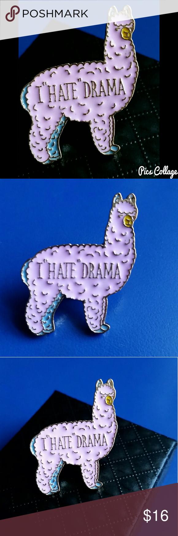 Good Llama Hates Drama Enamel Pin Super Cute Pink Llama Pin That Says