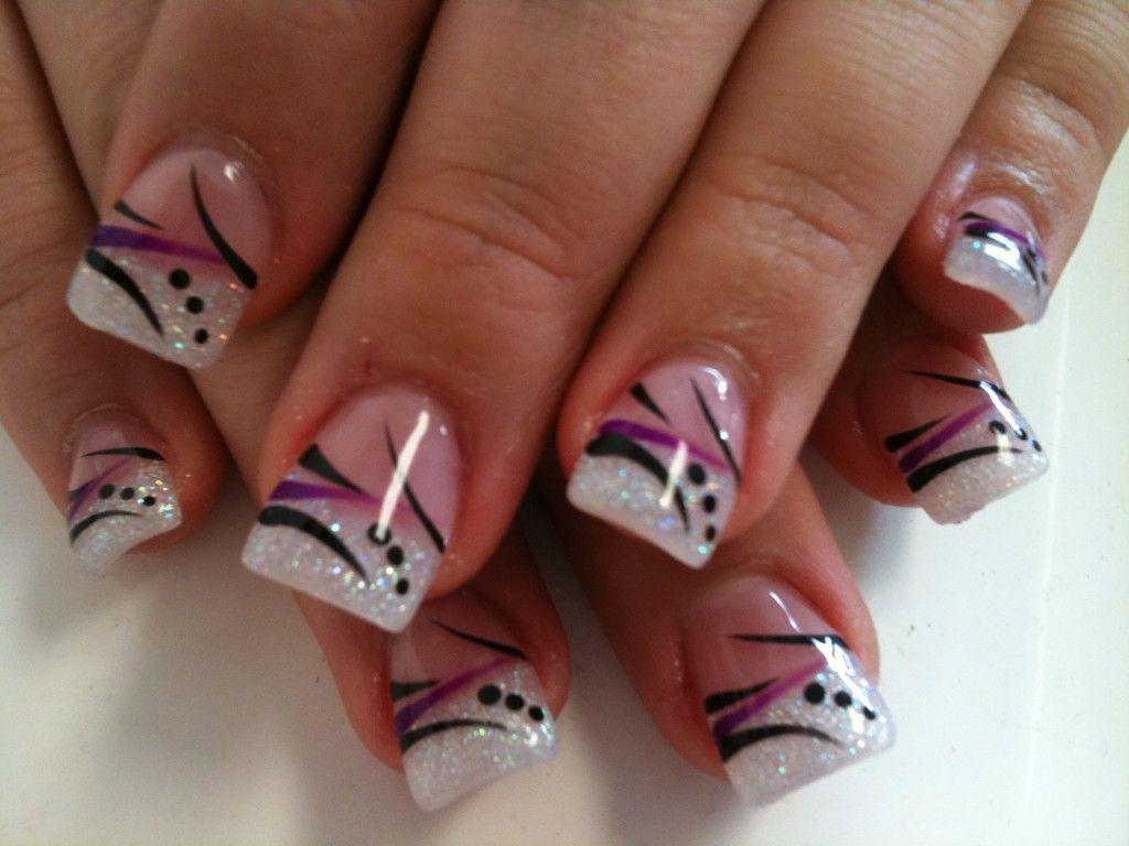 black nails and white airbrush