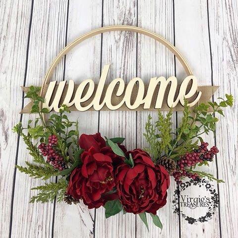 Photo of Hoop Wreath, Red Peony Hoop Wreath, Wall Gallery Wreath, Christmas Hoop Wreath, Holiday Wreath, Winter Wreath, Welcome