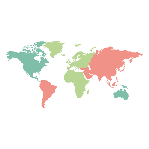 Colored Continents World Map Transparent Png Svg Vector World Map Outline Blank World Map World Map Continents