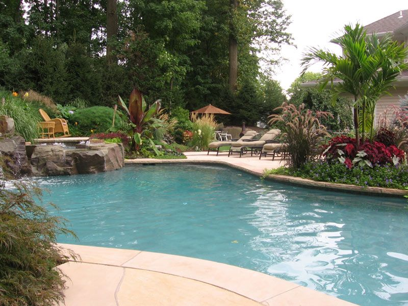 Poolscaping | Backyard pool landscaping, Swimming pool ... on Backyard Inground Pool Landscaping Ideas id=79350