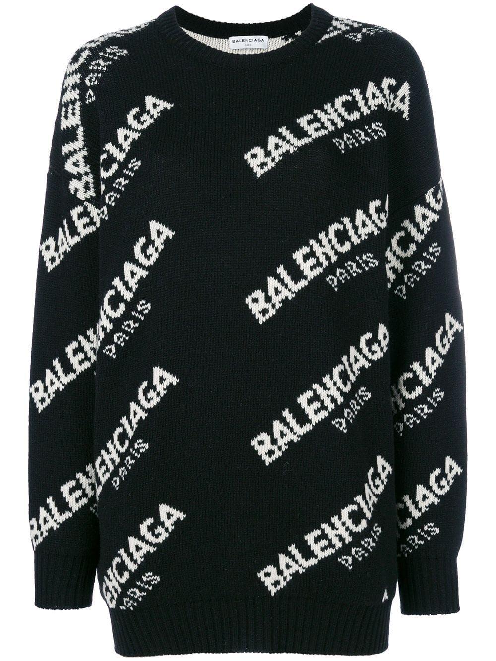 Balenciaga Jacquard Logo Crew Neck