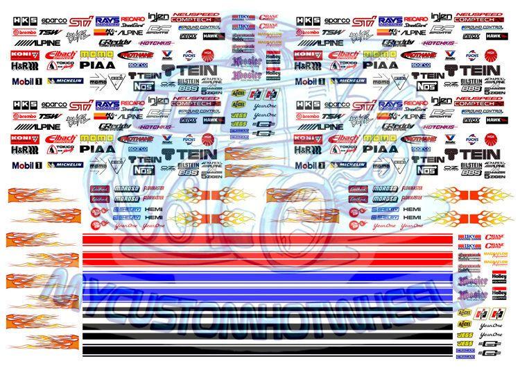 Racing Pack 2 Racing Stripes Race Logos Decals For Hot Wheels 1 64 Cars Car Model Custom Hot Wheels Hot Wheels
