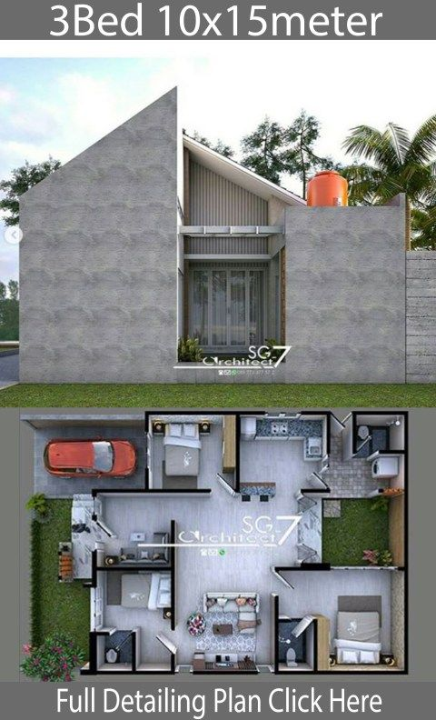 3 Bedrooms Home Design Plan 10x15m Home Design With Plan Home Design Plan House Design Bungalow House Design