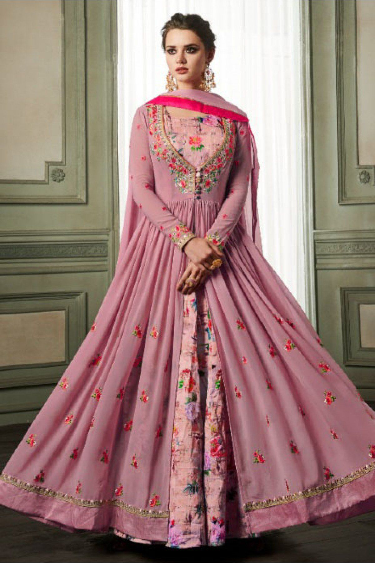 b33551b719 This Exclusive Anarkali Suit An Ultimate Party Wear Collection With The  Mesmerizing Colours Of Light Purple