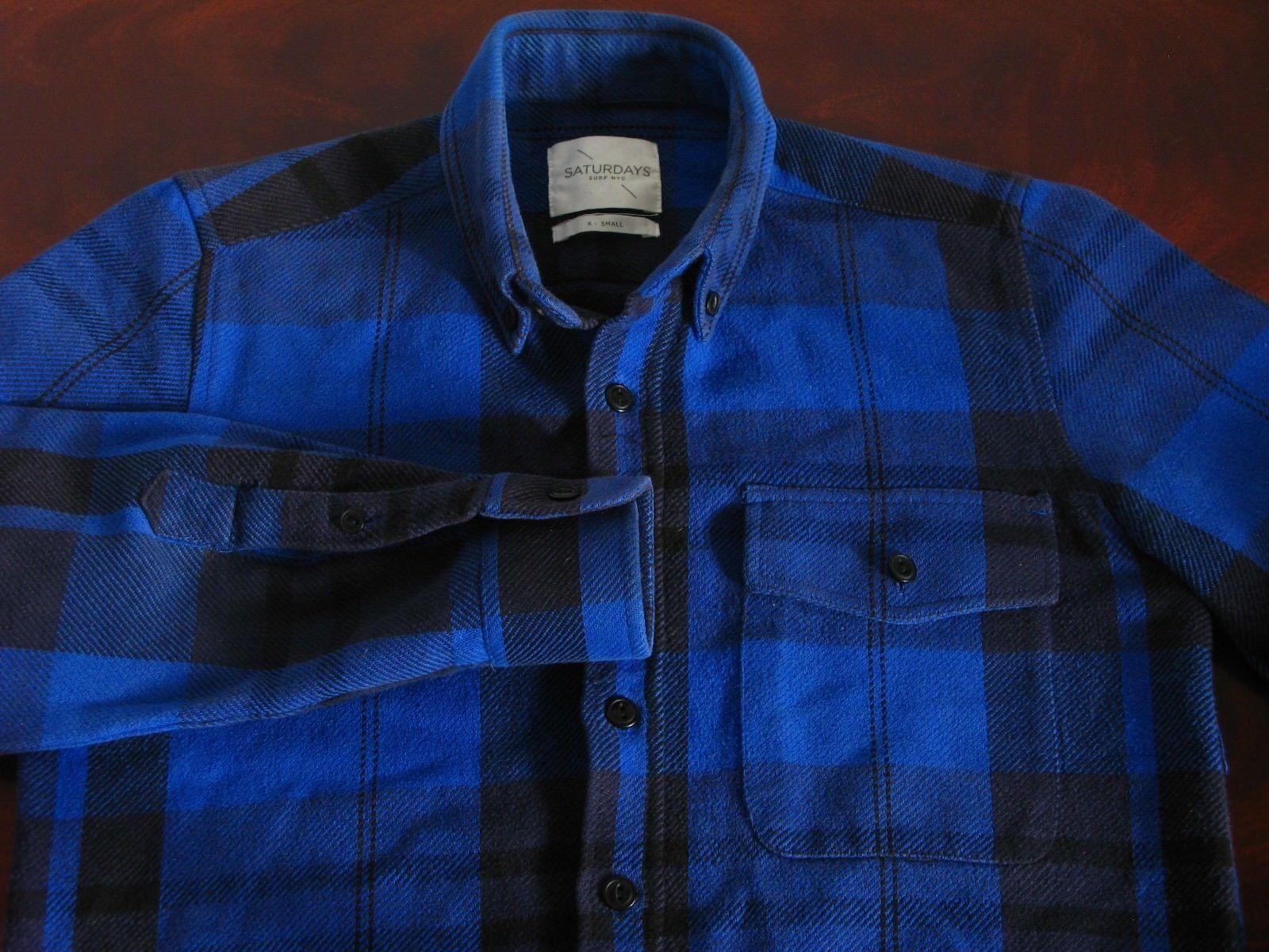 Flannel shirt xs  Mens SATURDAYS SURF NYC BlueBlack  Cotton Flannel Shirt XS