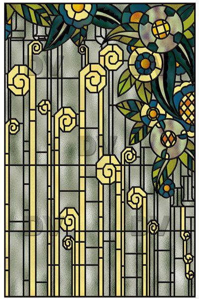 vit101 sticker effet vitrail art deco carreaux de fen tre vitraux et art d co. Black Bedroom Furniture Sets. Home Design Ideas