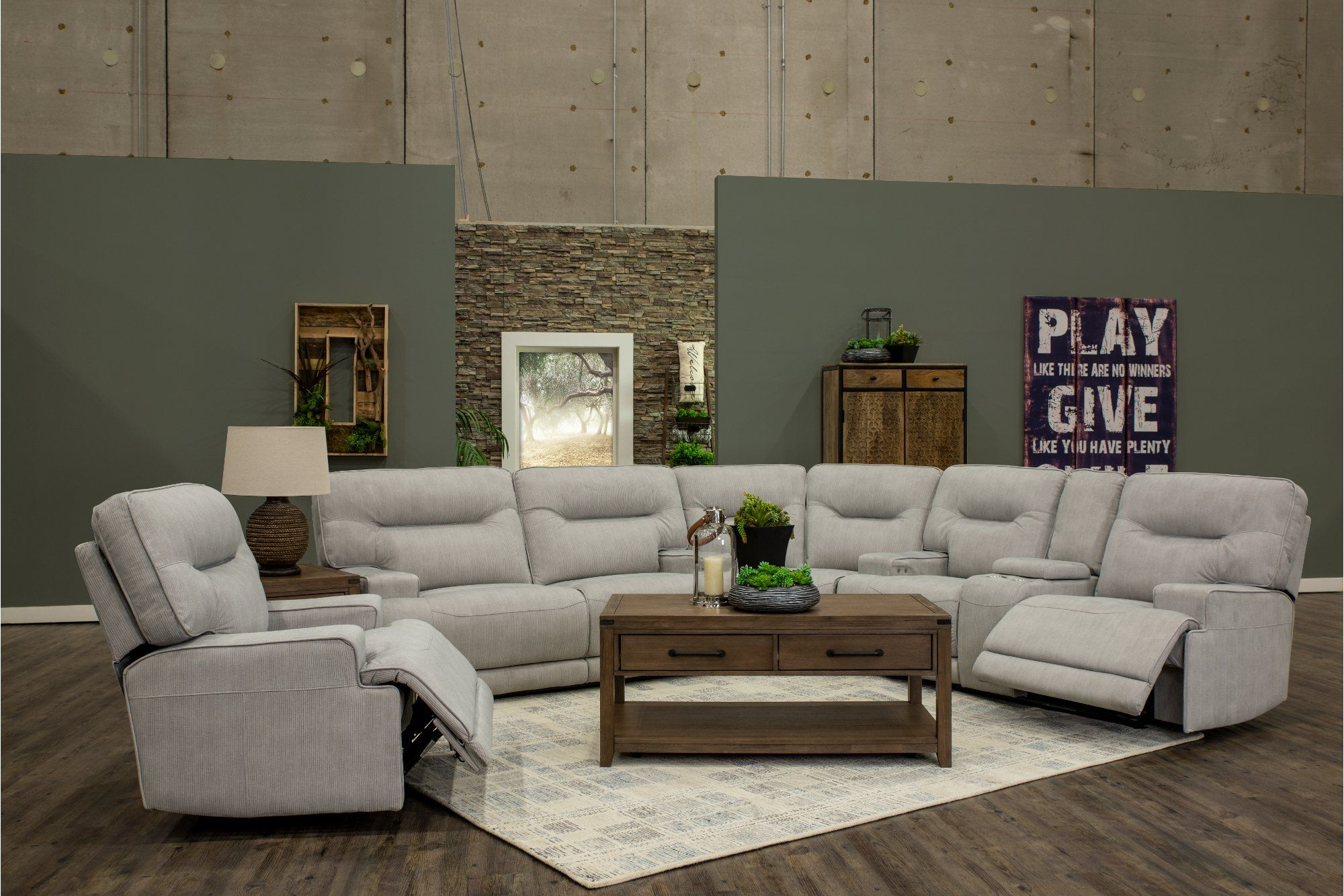 Sterling Gray 3 Piece Power Reclining Sectional Sofa Stanza In