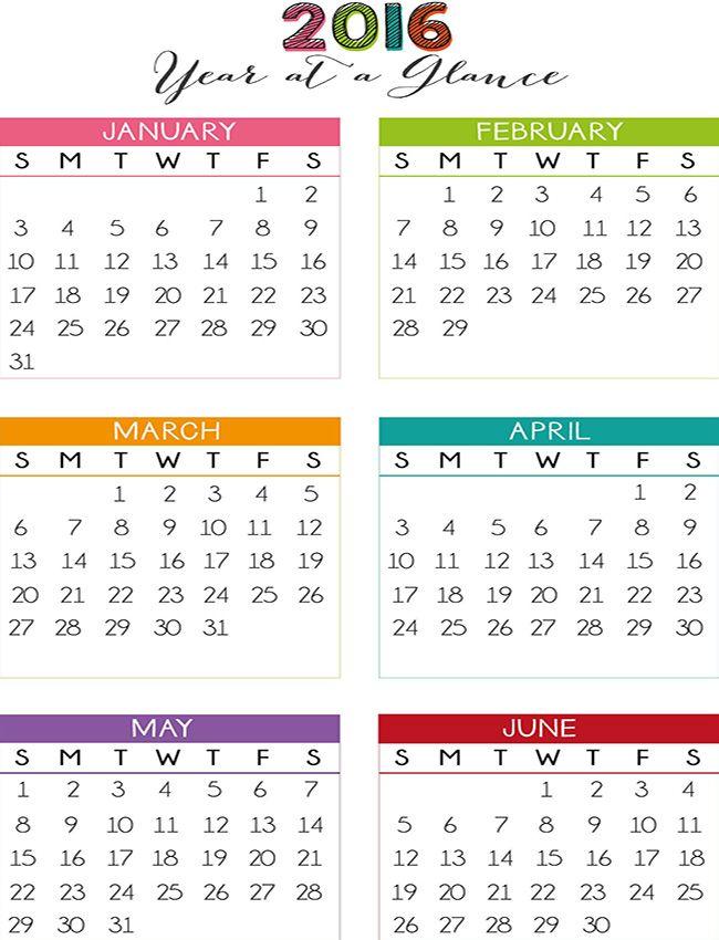 Year at a Glance Calendar #PLANNER FREEBIE AWSOMNESS#2 Pinterest
