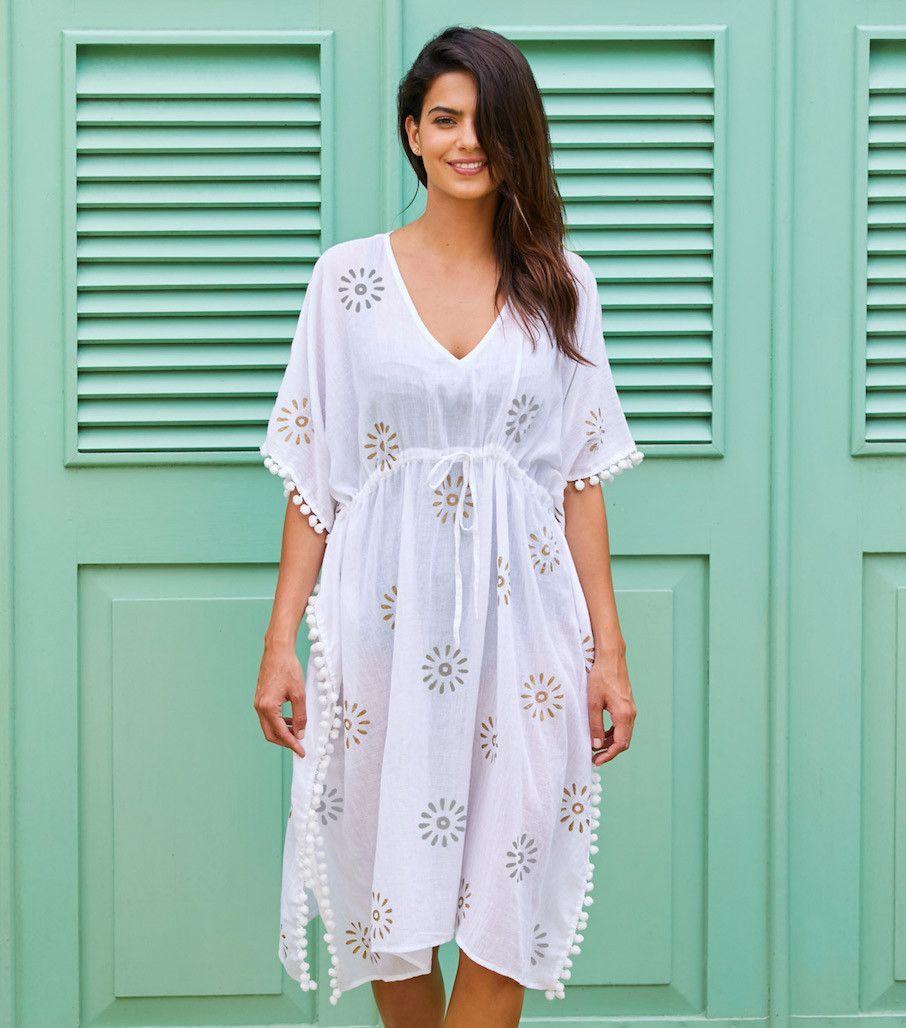 Pom Pom White Kaftan Dress