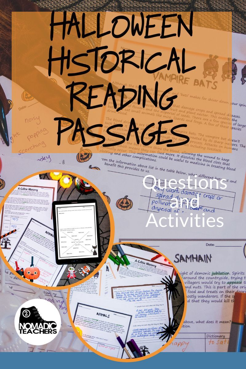 Historical Reading Passages And Activities For Halloween Reading Passages Passage Writing Descriptive Writing [ 1200 x 800 Pixel ]