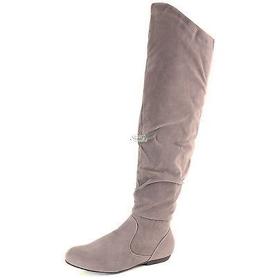 69cc1c9a75c Sexy Womens Over Knee Faux Suede Stretch Thigh High Slouchy Flat Heel Boots  Shoe