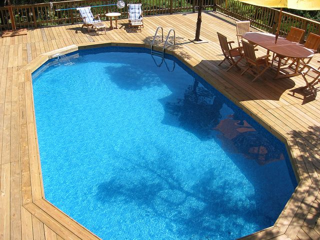 Large Wooden Decking - San Antonio, TX | Home | Above ground pool ...