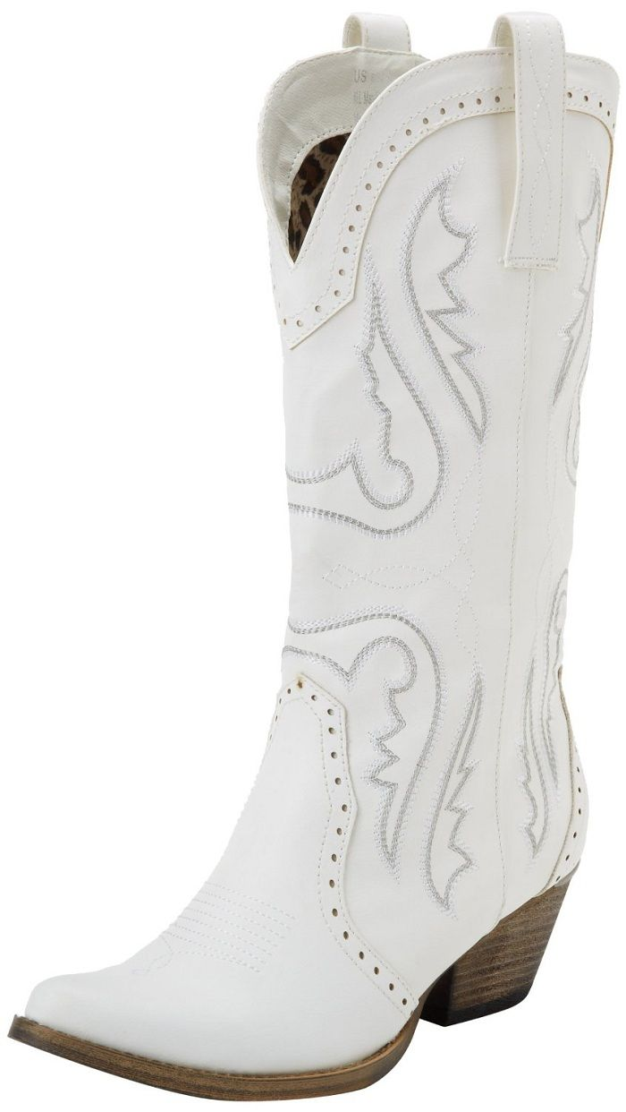 White boots for the bridesmaids white cowboy boots ...