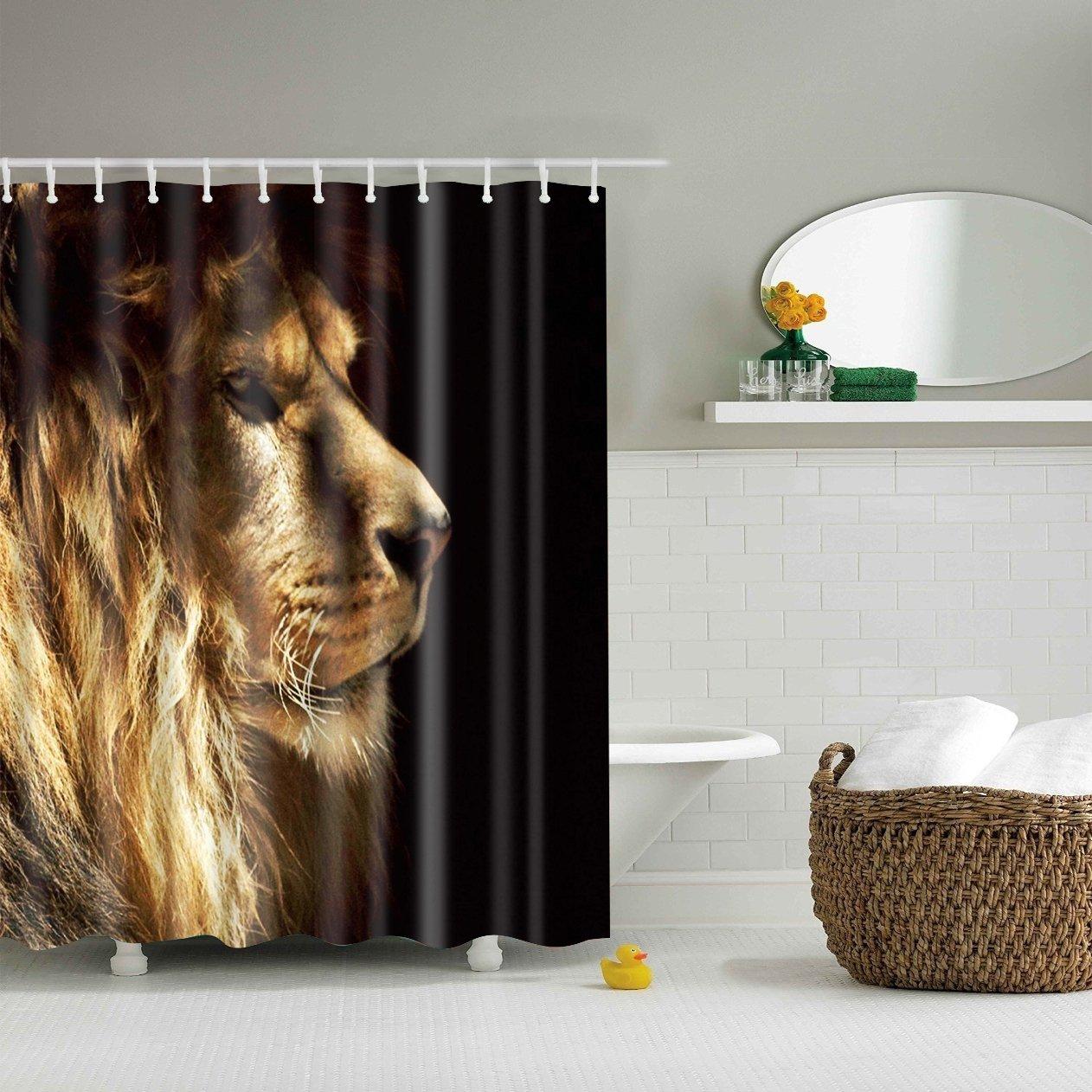 "Beautiful Leopard Bathroom Shower Curtain Polyester Waterproof Doormat Decor 72/"""