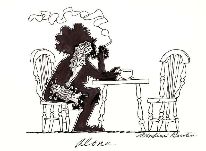 """""""Alone"""" original illustration for The Inner Man (a series of editorial cartoons done for various publications including the Village Voice and Oui Magazine in the 1970's.) 