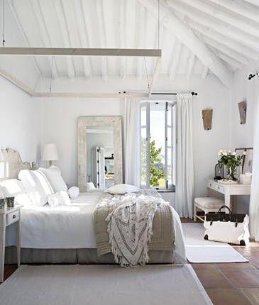 white bedroom habitaciones rústicas vintage en blanco Dormitorios
