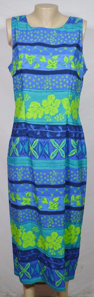 KATHIE LEE COLLECTION Blue Green Floral Stripe Print Sleeveless Dress 12 Unlined #KathieLee #Sheath #Casual