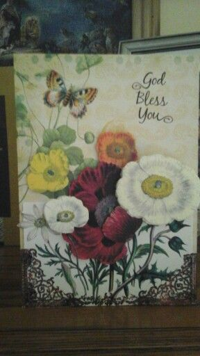 This is a card I made for a friend. This is the first time I have used the antique botanical flowers from Anna Griffin. I love the way it turned out.