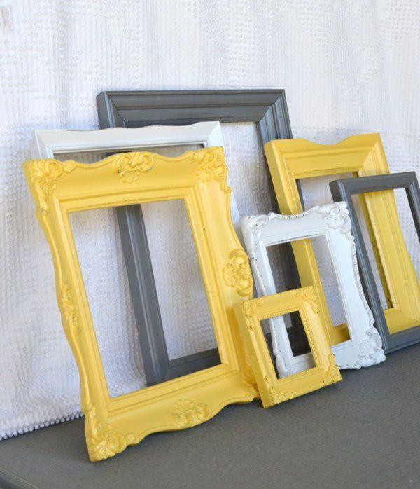 cadre jaune gris et blanc pour chambre gris | Côté déco maison en ...