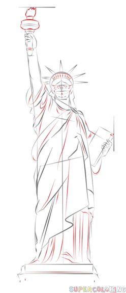 Statue Of Liberty Drawing Step By Step How to draw the Statue of Liberty step by step Drawing