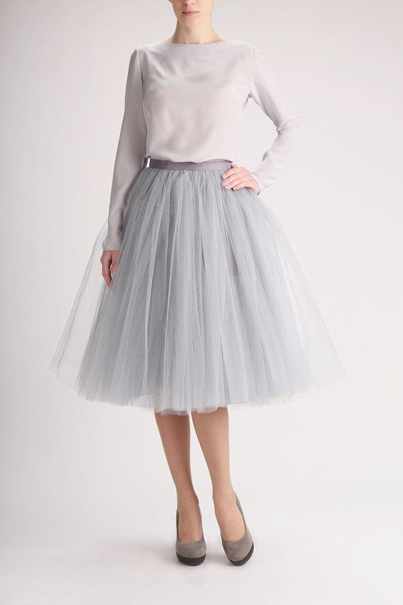 official photos 0d154 a1934 PLUS SIZE Grey tulle skirt, Handmade long skirt, Handmade ...