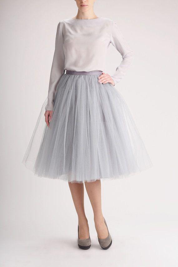 Grey tutu tulle skirt gray petticoat long high by Fanfaronada