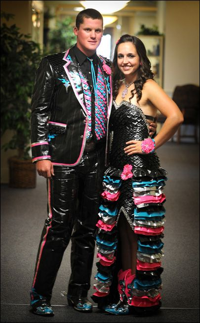 Prom dress made out of duct tape