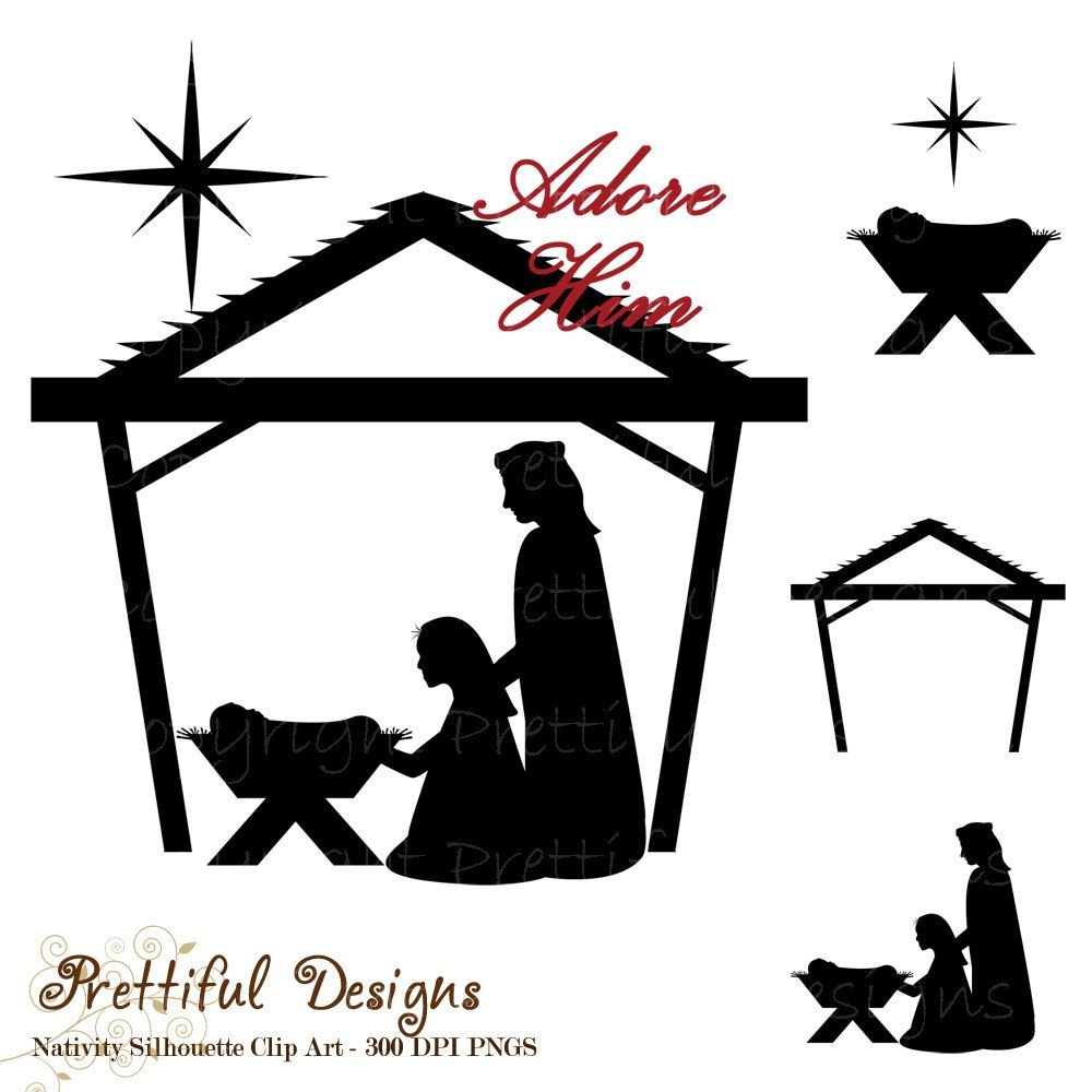 photo relating to Nativity Clipart Free Printable called cost-free silhoutte nativity scene habits Nativity Clip Artwork