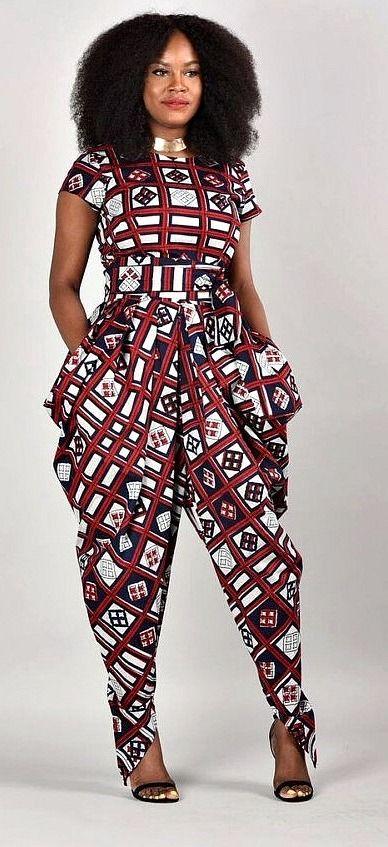 Emem Harem Jumpsuit- African print clothing. African print short sleeves Harem jumpsuit. 2 side ...