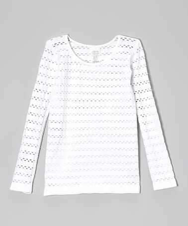 Loving this White Open-Weave Tee on #zulily! #zulilyfinds