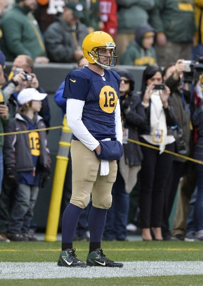 Aaron Rodgers in the Packers throwback uniform. Cleveland Browns vs. Green  Bay Packers-October 20 8a2eef523
