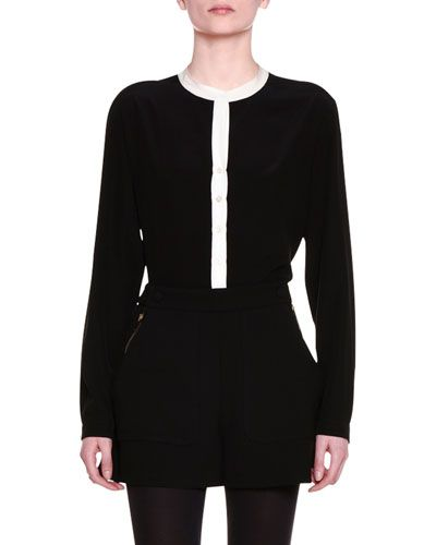 STELLA MCCARTNEY Long-Sleeve Colorblock Tunic Blouse, Black. #stellamccartney #cloth #